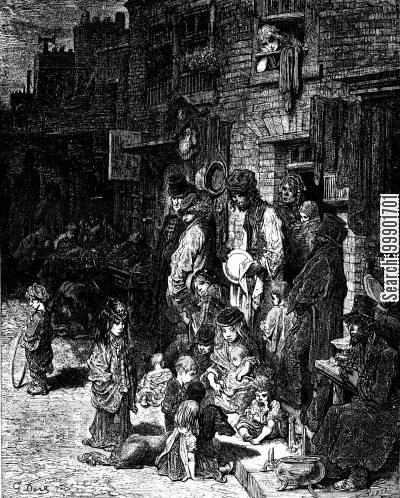victorian slum cartoon humor: 'Wentworth Street, Whitechapel'