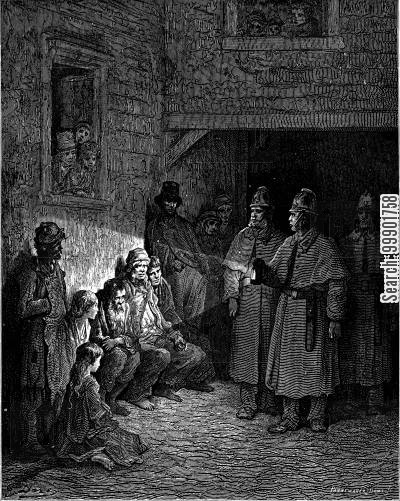 victorian smithfield cartoon humor: Superintendent on Night Patrol in Whitechapel Slums