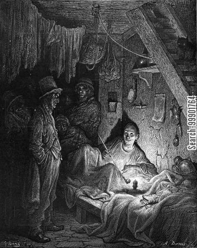 victorian whitechapel cartoon humor: Lascar Woman in Whitechapel Opium Den