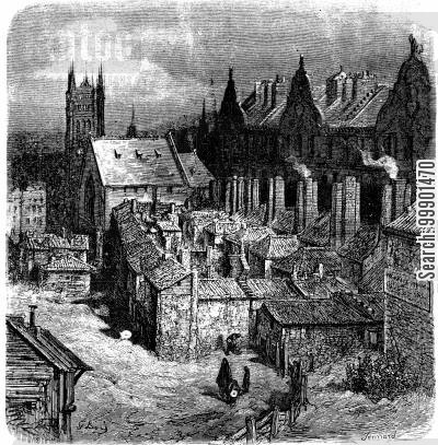 victorian slum cartoon humor: Slums of the 'Devil's Acre'