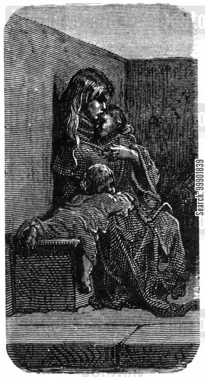 victorian cartoon humor: Homeless Woman Asleep with Children