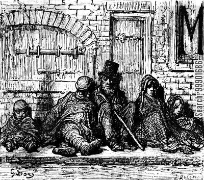 victorian cartoon humor: Homeless Family on London Street