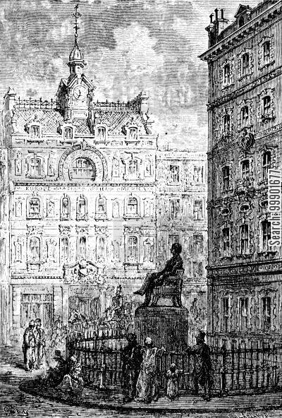 city of london cartoon humor: George Peabody's Statue at the Royal Exchange