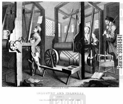 factories cartoon humor: Industry and Idleness - The fellow apprentices at their looms.