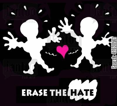 peace messages cartoon humor: Erase the hate.