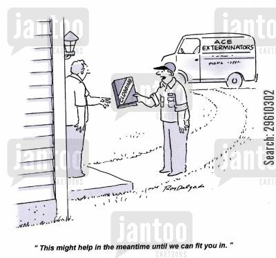 quick fix cartoon humor: 'This might help in the meantime until we can fit you in.'