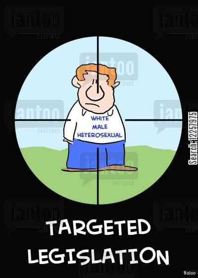 new lwas cartoon humor: White Male Heterosexual - Targeted Legislation.
