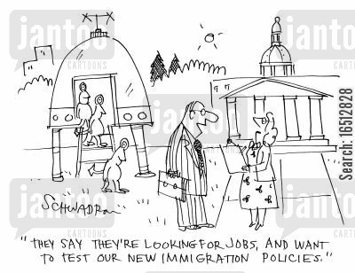green cards cartoon humor: 'They say they're looking for jobs and want to test our new immigration policies.'