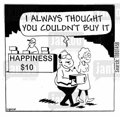 materialism cartoon humor: I always thought you couldn't buy it.