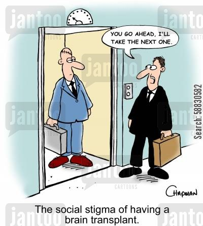 organ transplant cartoon humor: 'You go ahead, I'll take the next one.' The social stigma of having a brain transplant.