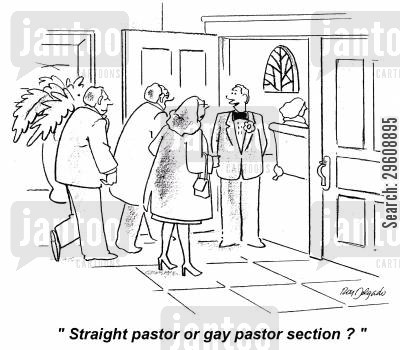 heterosexual cartoon humor: 'Straight paster or gay pastor section?'