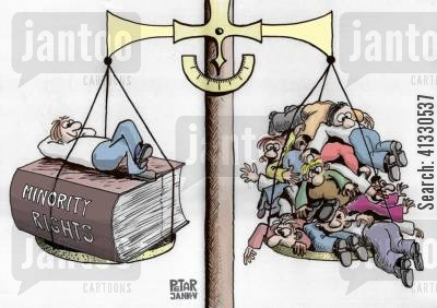 discriminate cartoon humor: The Scales of Minority Rights