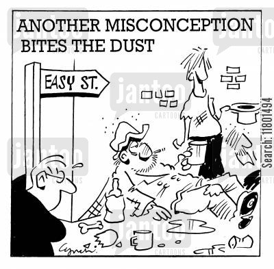 misconceptions cartoon humor: Another Misconception Bites the Dust