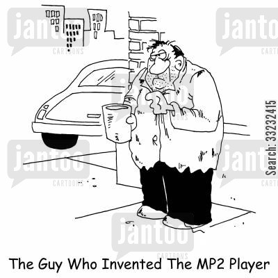 music file cartoon humor: The guy who invented the MP3 player.