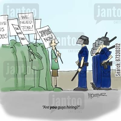 confrontation cartoon humor: 'Are you guys hiring?'