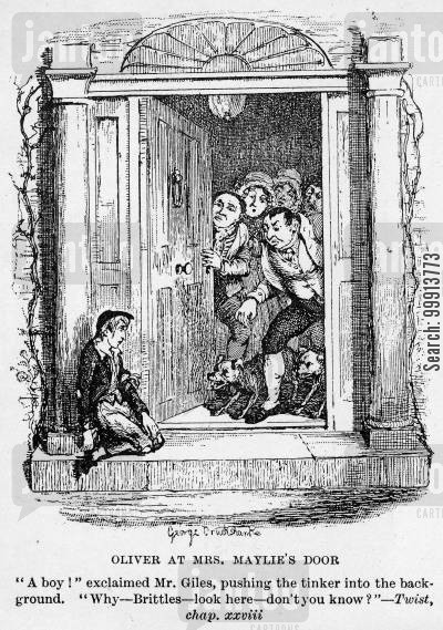 impoverished cartoon humor: Oliver at Mrs. Maylie's door