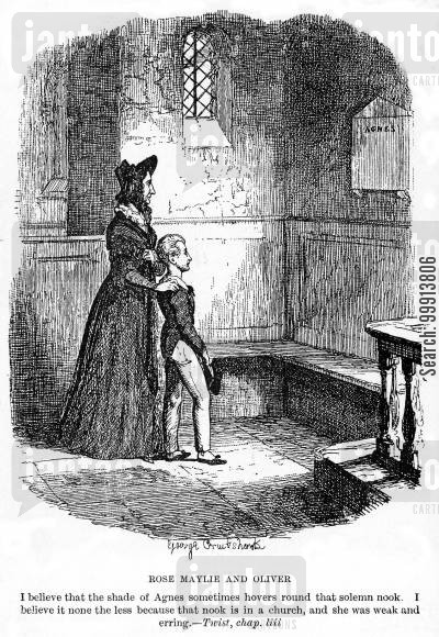 dickens cartoon humor: Rose Maylie and Oliver