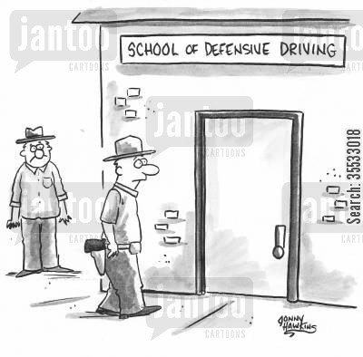 drivers ed cartoon humor: Man entering School of Defensive Driving has gun.
