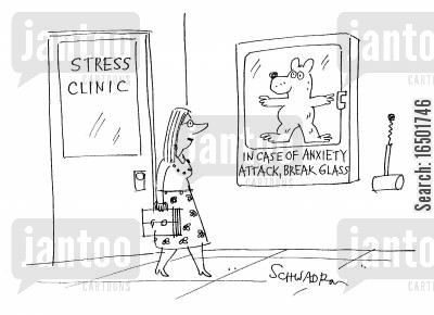 panic attacks cartoon humor: In Case of Anxiety Attack, Break Glass