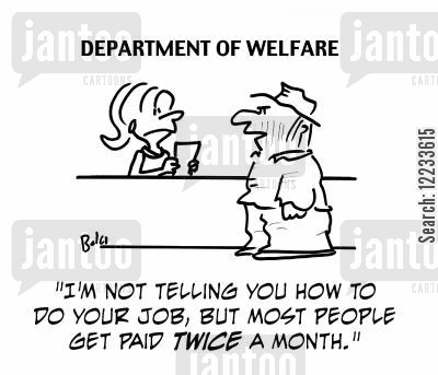 pay day cartoon humor: 'I'm not telling you how to do your job, but most people get paid twice a month!'