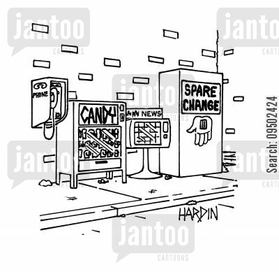 phonebooth cartoon humor: Spare change donation machine next to vending machines.
