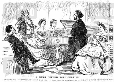 pressured cartoon humor: Two women playing the piano for some guests