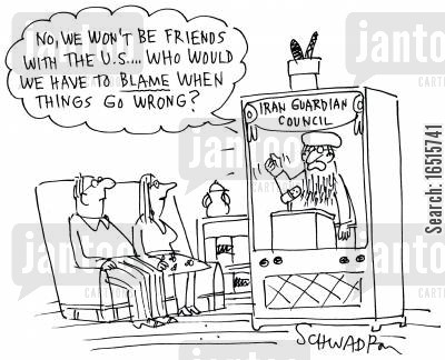 political news report cartoon humor: 'No we wont be friends with the U.S. . . .who else would we have to blame when things go wrong?'