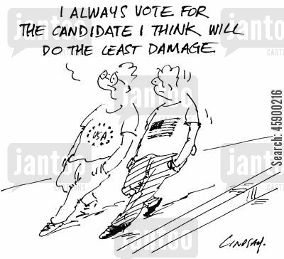 political party cartoon humor: 'I always vote for the candidate I think will do the least damage.'