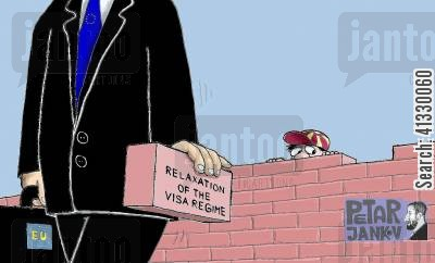 illegal immigrants cartoon humor: Relaxation of the visa regime.