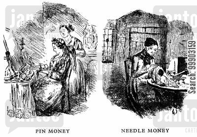 seamstresses cartoon humor: Pin Money and Needle Money: the Victorian Wealth Gap