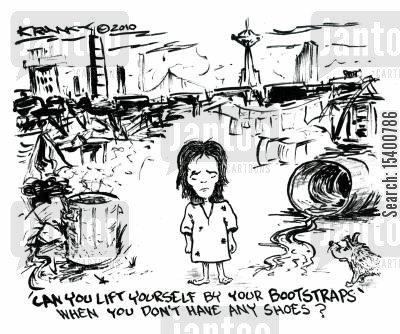 straps cartoon humor: Can you lift yourself by your bootstraps when you don't have any shoes?