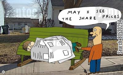 park benches cartoon humor: 'May I see the share prices?'