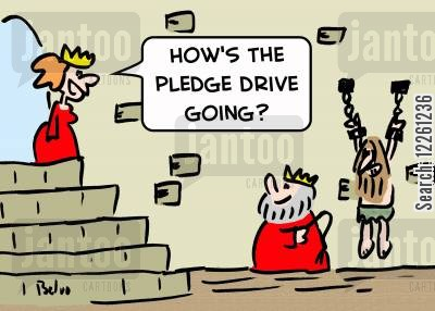 thrones cartoon humor: 'How's the pledge drive going'