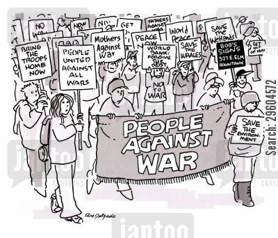 protests cartoon humor: People against war.