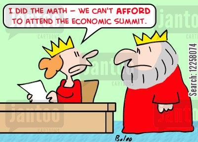 math cartoon humor: 'I did the math -- we can't AFFORD to attend the economic summit.'