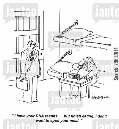 delivered cartoon humor: 'I have your DNA results.. but finish eating, I don't want to spoil your meal.'