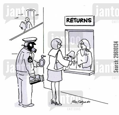 gas mask cartoon humor: Returns.