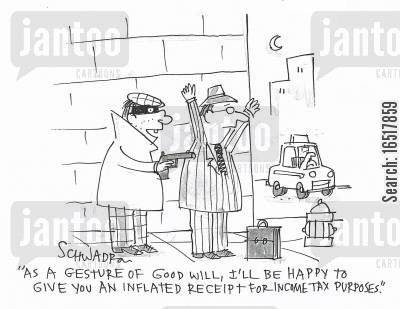 goodwill cartoon humor: 'As a gesture of good will, I'll be happy to give you an inflated receipt for income tax purposes.'