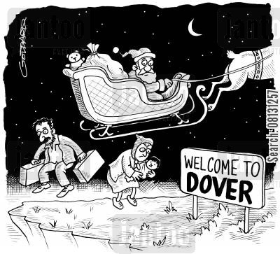 dover cartoon humor: Santa with illegal immigrants.