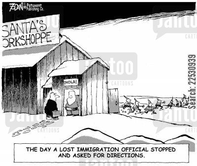 illegal immigrants cartoon humor: The day a lost immigration official stopped and asked for directions.