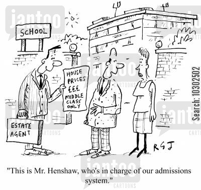 middle classes cartoon humor: 'This is Mr Henshaw, who's in charge of our admissions system.'
