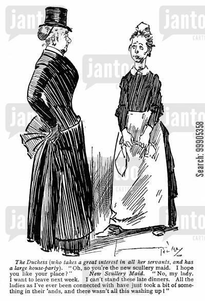 formal dress cartoon humor: The Duchess and her new Maid