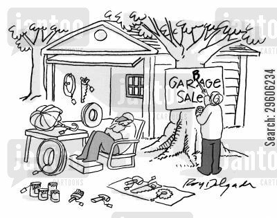 hick cartoon humor: Garbage sale.