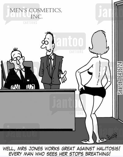 breaths cartoon humor: 'Well, Mrs Jones works great against halitosis! Every man who sees her stops breathing!'