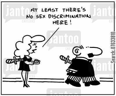 sex discrimination cartoon humor: At least there's no sex discrimination here.