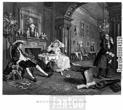 william hogarth cartoon humor: Marriage a la Mode - Breakfast scene.