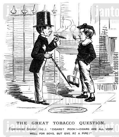 showing off cartoon humor: The Great Tobacco Question.