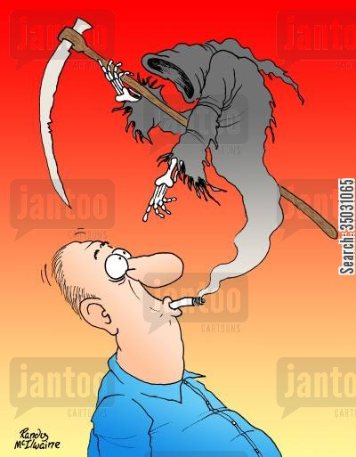 no smoking cartoon humor: Death rising up from the tip of a cigarette.