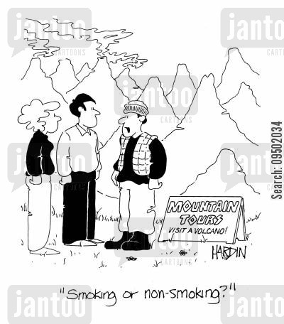 smoking volcanoes cartoon humor: Smoking or non-smoking?
