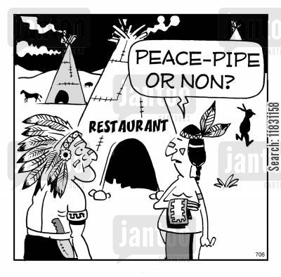 smoking section cartoon humor: Peace-pipe or non?